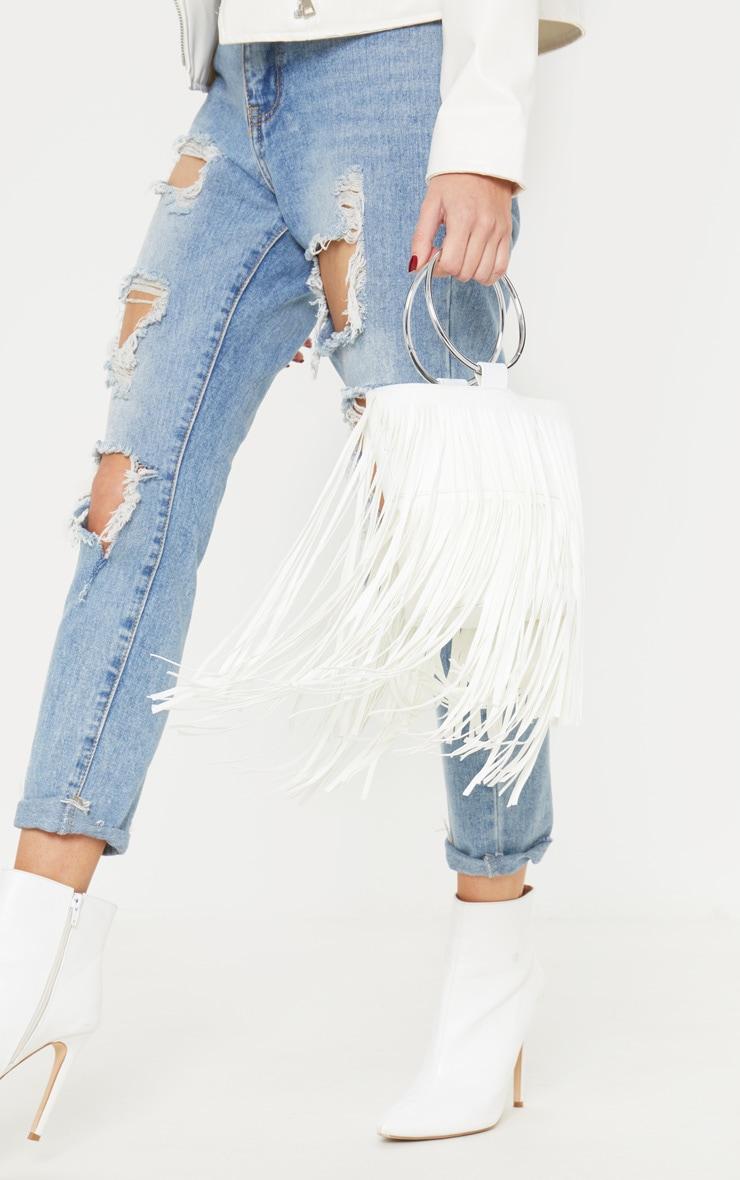 White Suedette Fringe Grab Bag