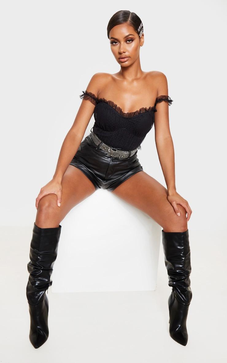 Black Dobby Mesh Bardot Bodysuit 5