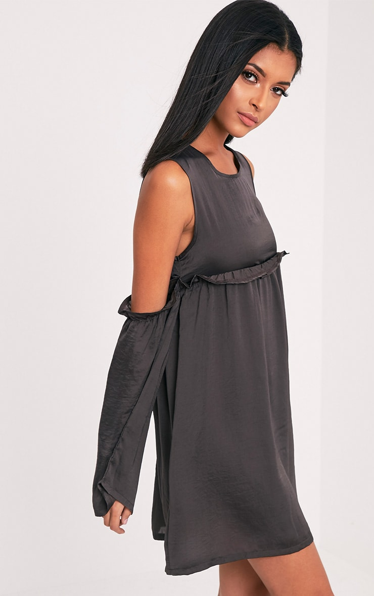Kylissa Charcoal Cold Shoulder Satin Swing Dress 4