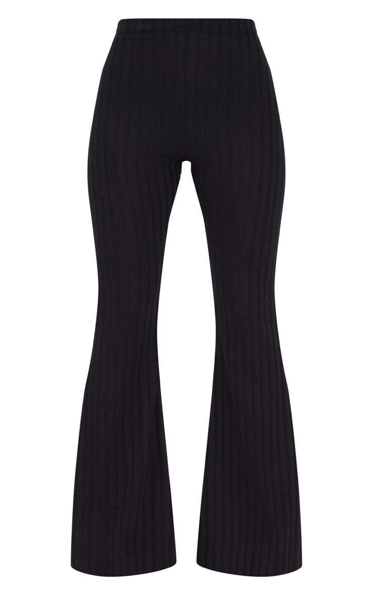 Petite - Pantalon flare noir côtelé 3