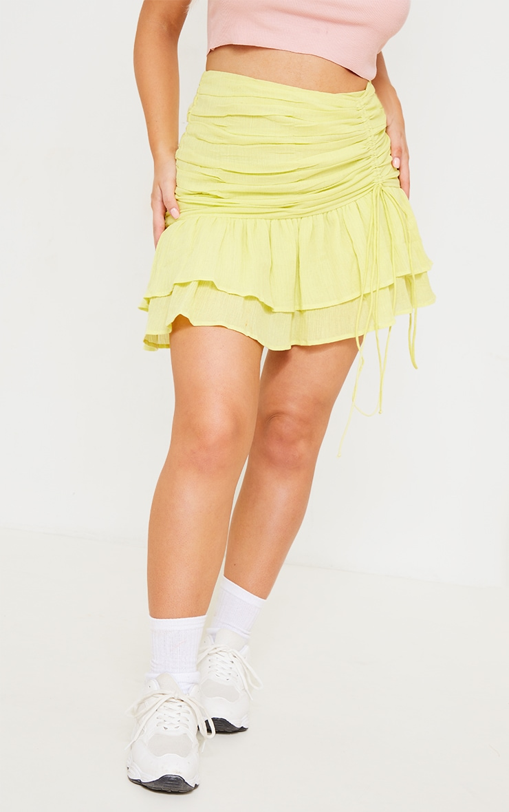 Pale Yellow Textured Ruched Frill Hem Mini Skirt 2