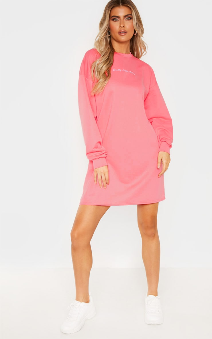 PRETTYLITTLETHING Tall Pink Embroidered Jumper Dress 1