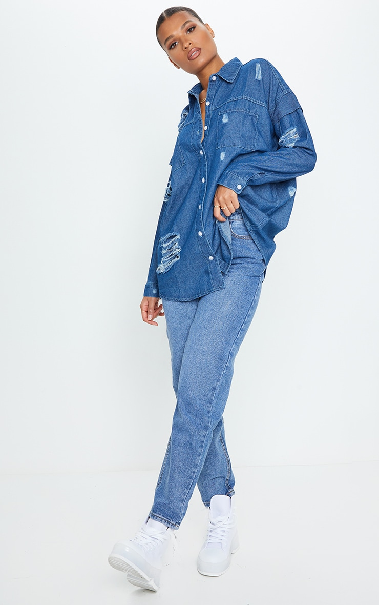 Mid Wash Oversized Distressed Denim Shirt 3