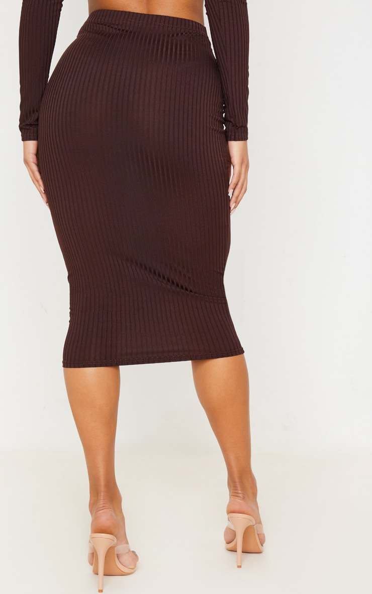 Brown Ribbed High Waist Midi Skirt 4