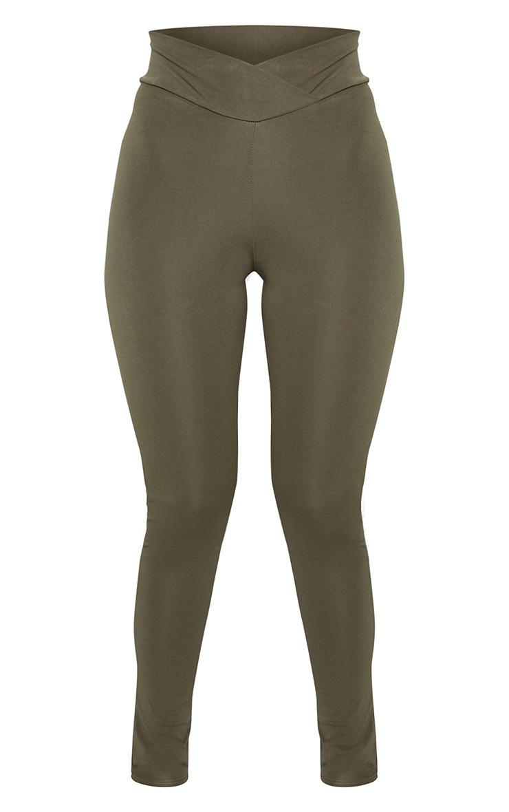 Khaki V Front Gym Leggings 5