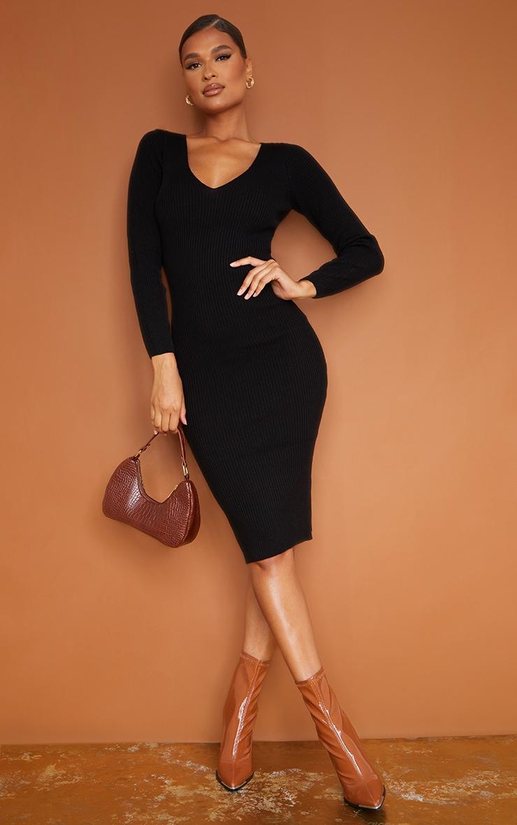 Black V Neck Knitted Midi Dress 1