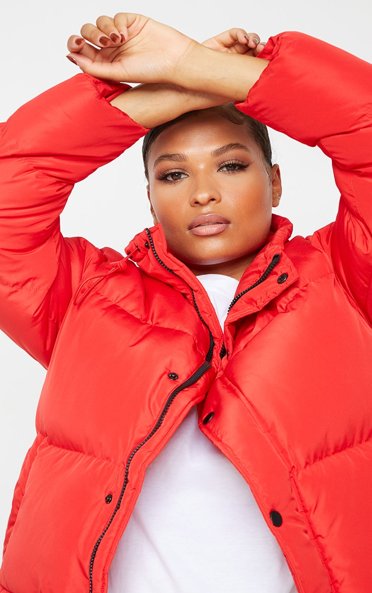 Red Toggle Detail Puffer Jacket 4