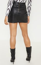 Tall Black Snake Effect Faux Leather Wrap Skirt 4