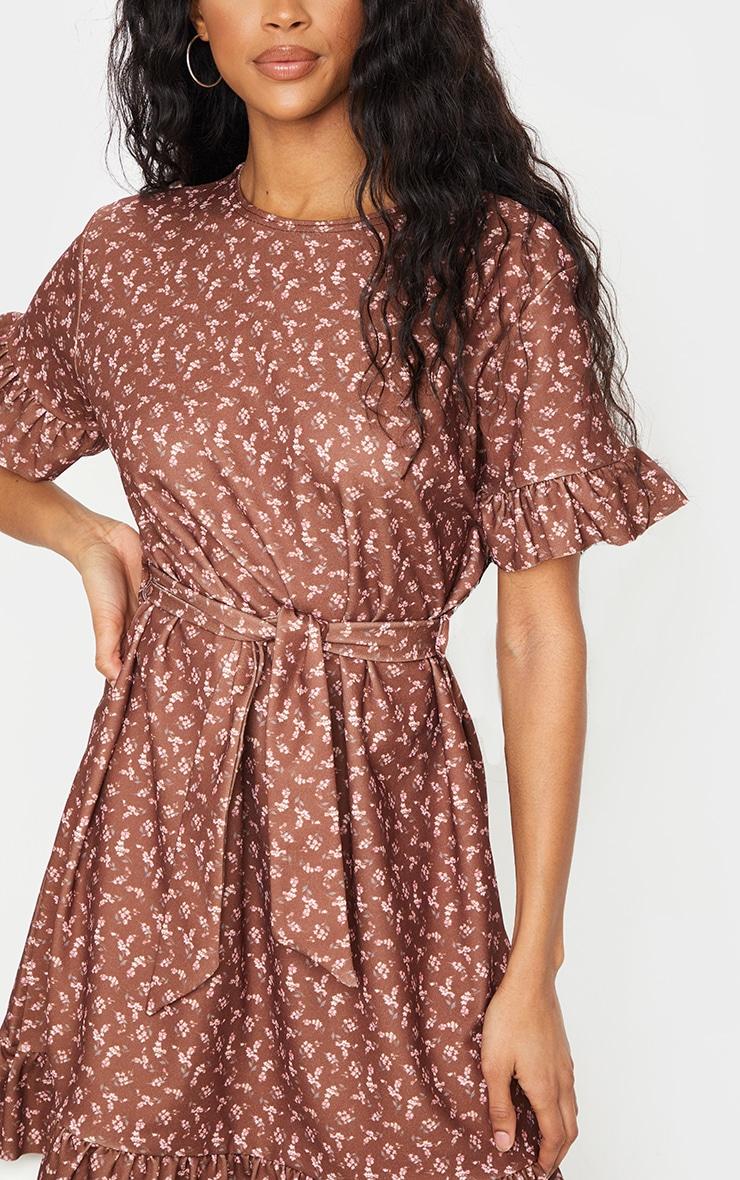 Brown Floral Print Crew Neck Tie Waist Frill Hem Tea Dress 4