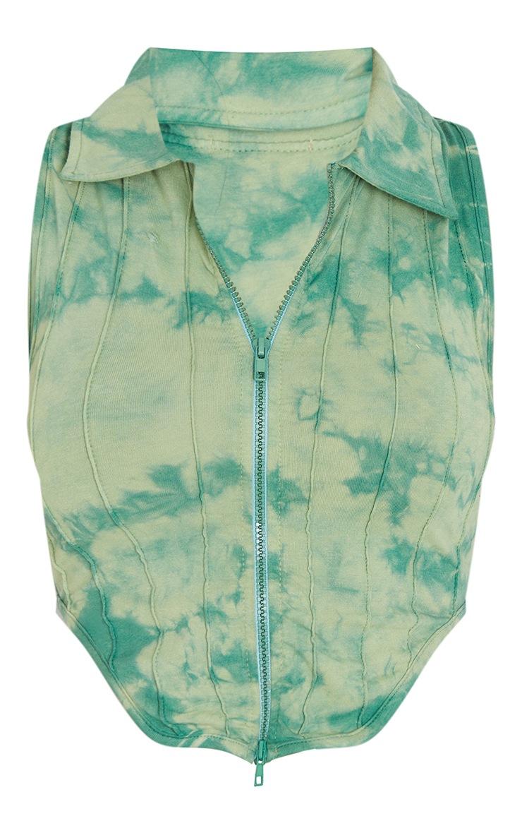 Green Tie Dye Print Zip Front Seam Detail Sleeveless Top 5