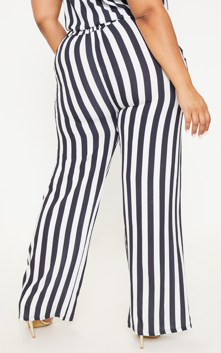 Plus Monochrome Tie Waist Striped Wide Leg Trousers 4