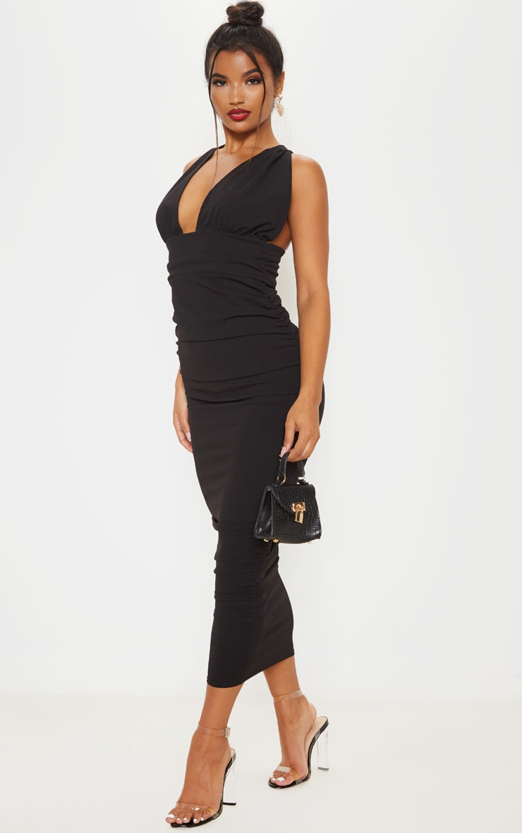 Black Deep Plunge Ruched Midaxi Dress 1