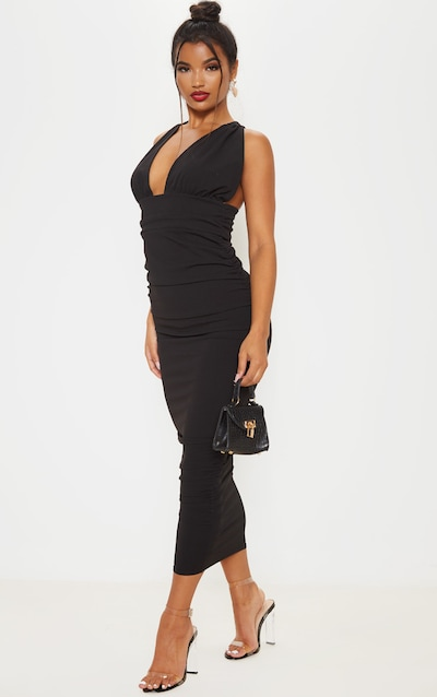 Black Deep Plunge Ruched Midaxi Dress