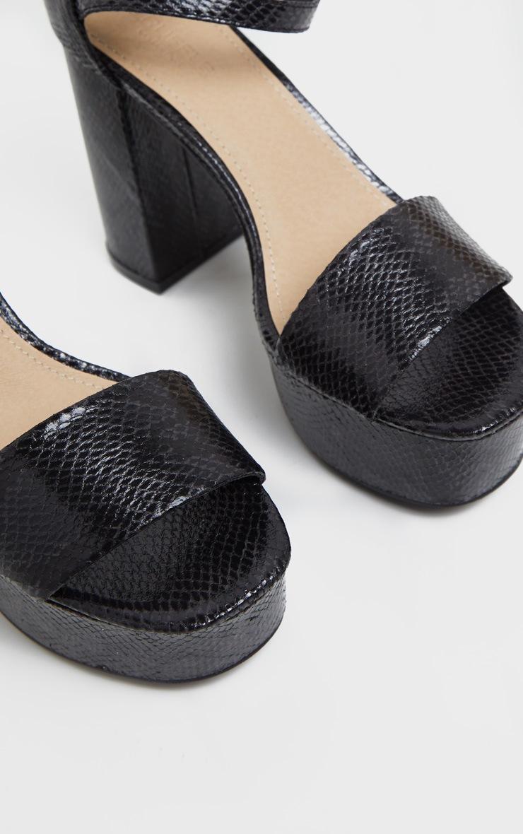Sandales plateformes en serpent noires à brides cheville et talons bloc 3
