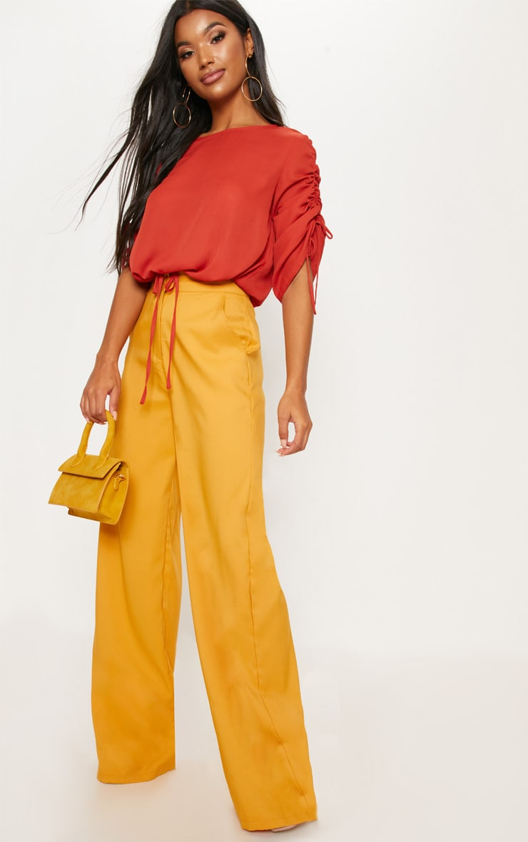Rust Chiffon Ruched Sleeve Detail Drawstring Crop Top