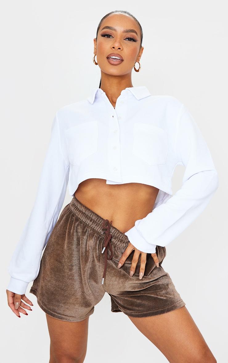 White Collar Button Front Crop Polo Shirt 1