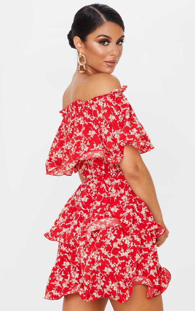 Red Floral Print Chiffon Bardot Ruffle Tiered Dress 2