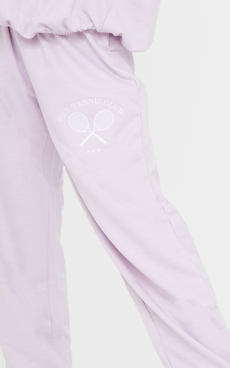 PRETTYLITTLETHING Petite Lilac Tennis Club Oversized Joggers 4