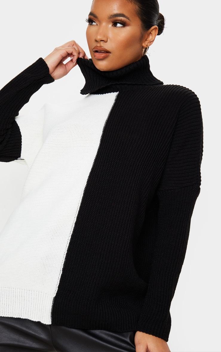Monochrome Colour Block Roll Neck Oversized Sweater 5