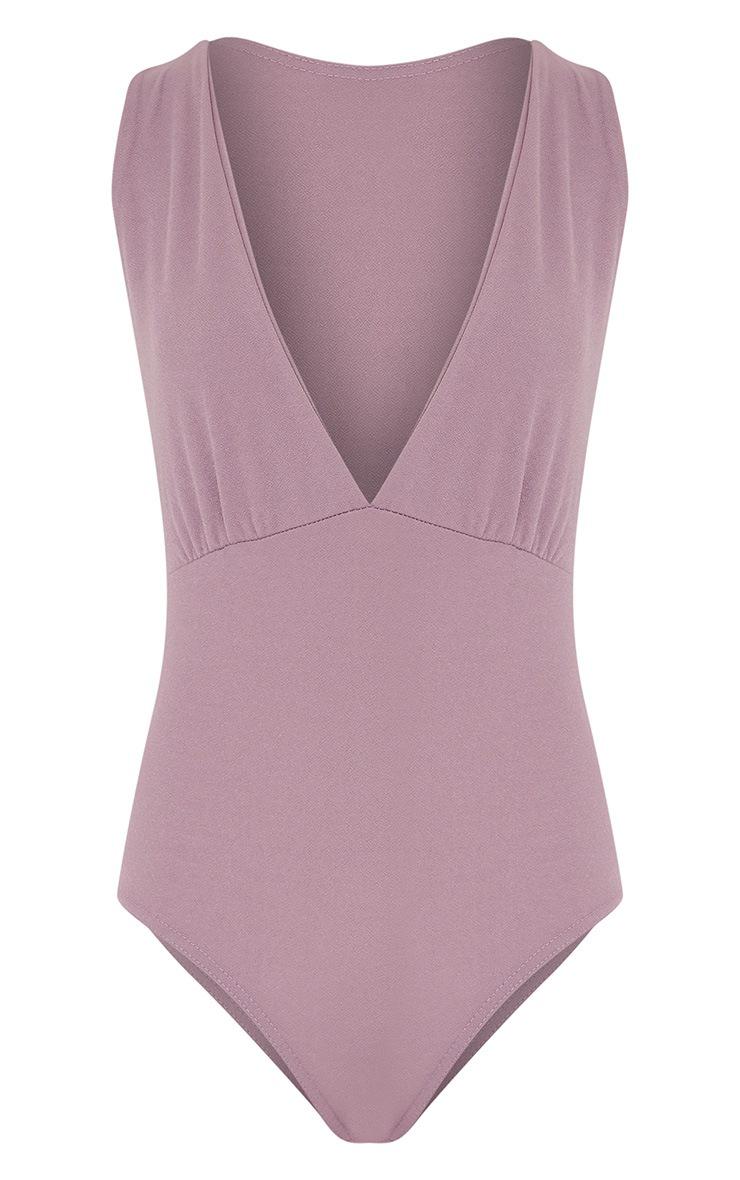 Elissa Lilac Extreme Plunge Bodysuit 3