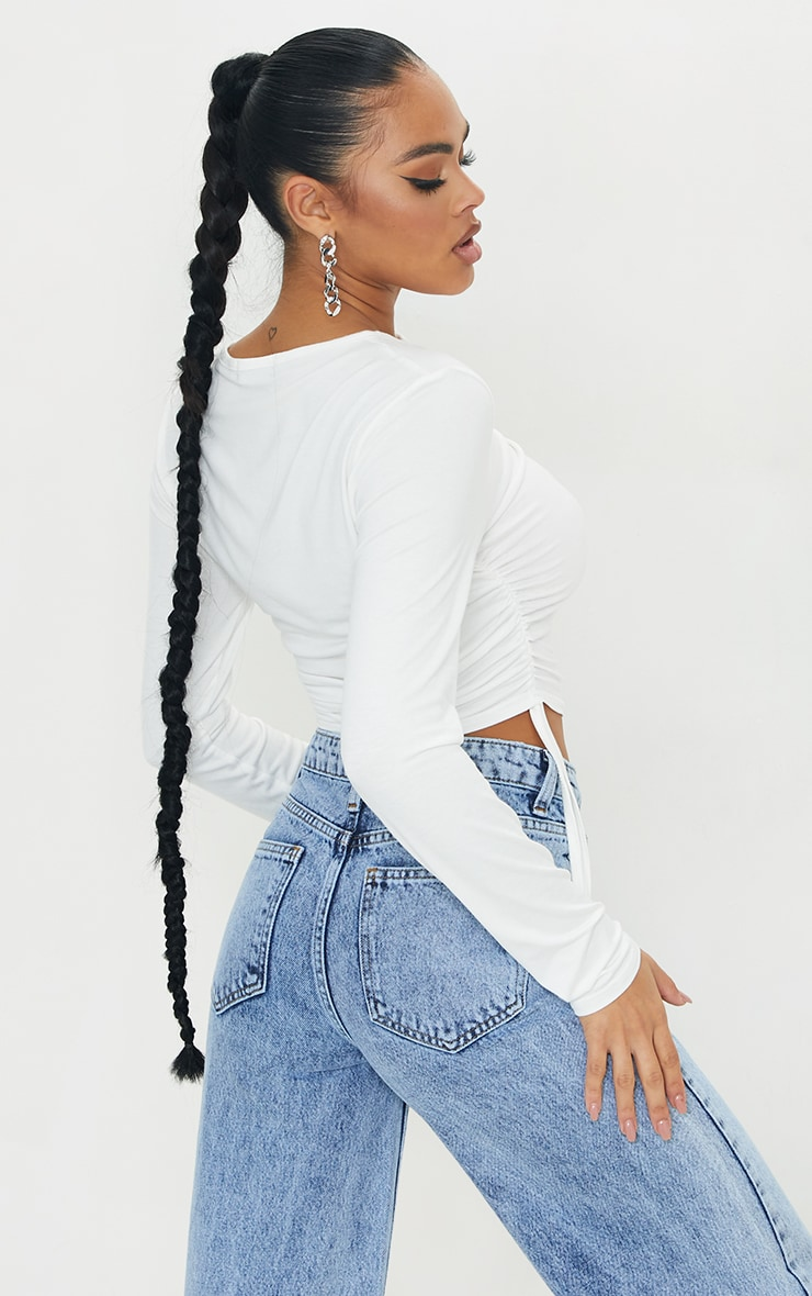 White Jersey Popper Front Ruched Side Top 2