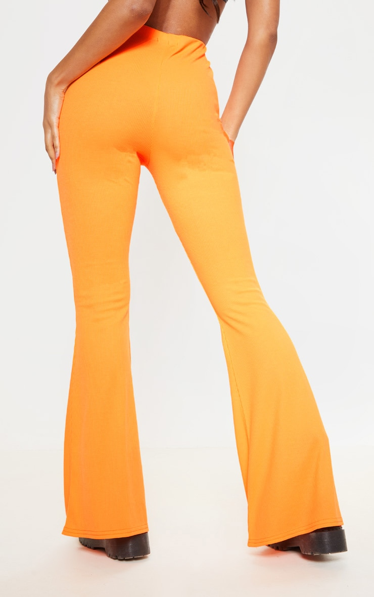 Neon Orange Ribbed Flared Trouser 3