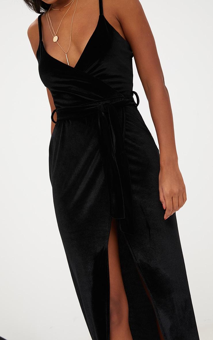 Black Velvet Plunge Wrap Maxi Dress 5