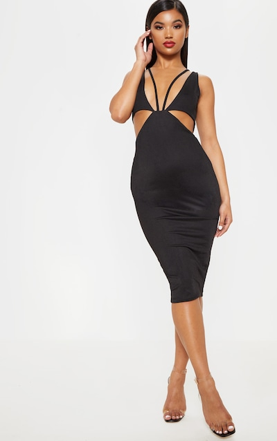 75a48b47706 Black Bust Detail Waist Cut Out Midi Dress