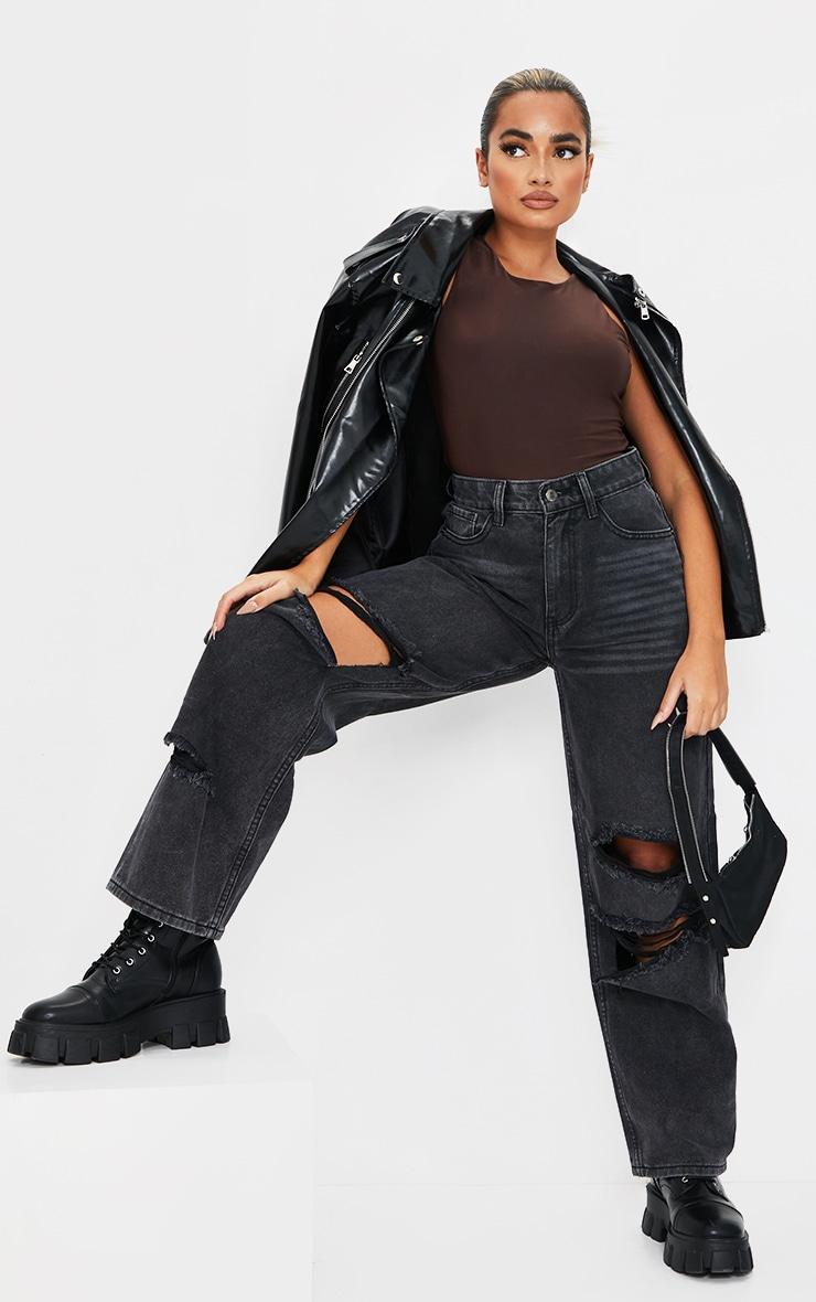Petite Black Baggy Low Rise Distressed Boyfriend Jeans 1
