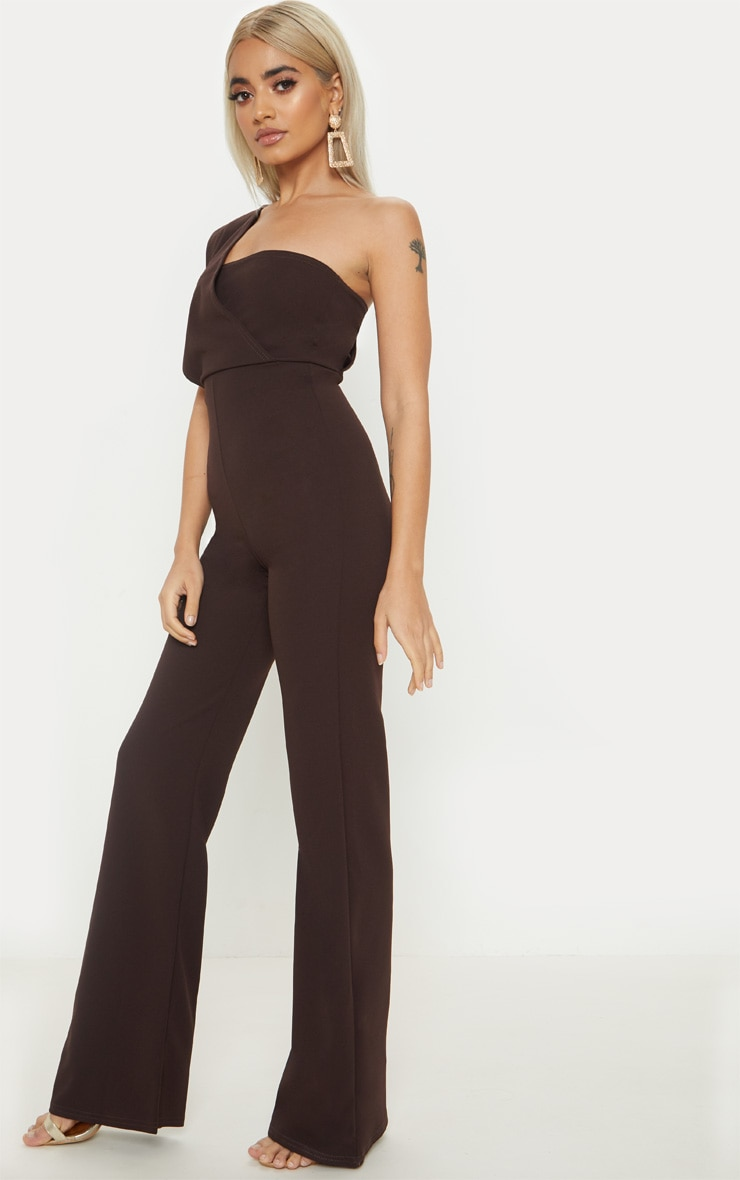 Petite Chocolate Brown Drape One Shoulder Jumpsuit 4