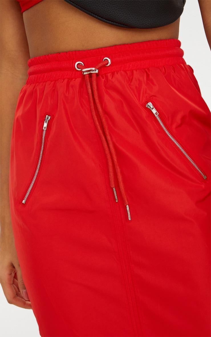 Red Shell Drawstring Midi Skirt  5