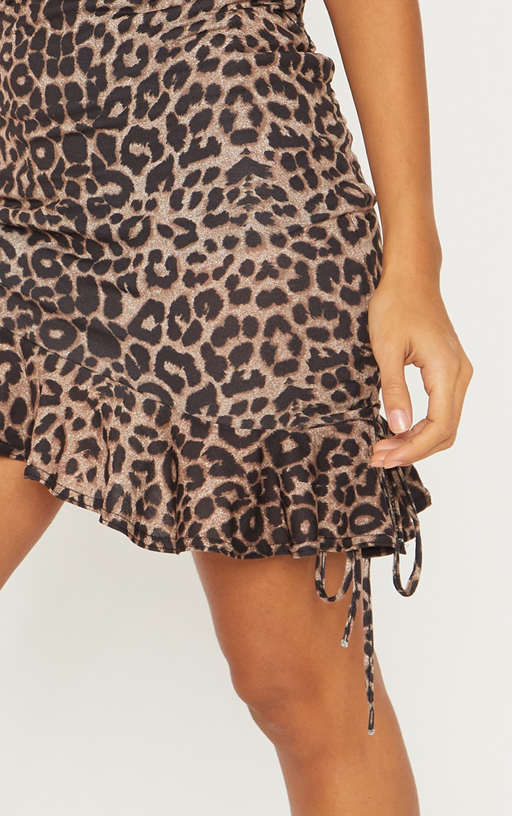True Leopard Printed Ruched Detail Mini Skirt 6