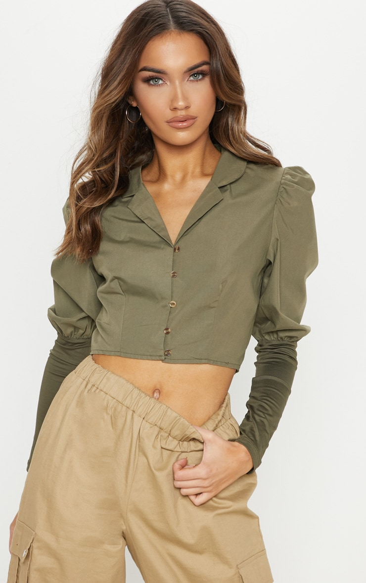 Khaki Tortoise Shell Button Puff Sleeve Crop Blouse
