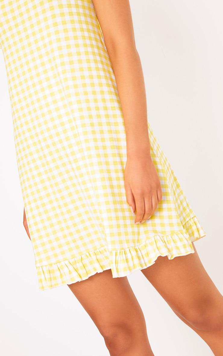 Lemon Gingham Bardot Frill Hem Swing Dress  5