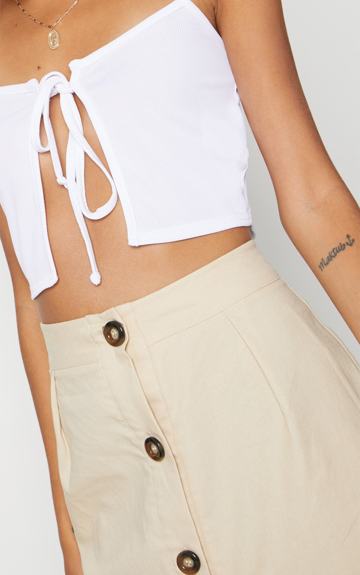 White Rib Cami Tie Front Crop Top 5