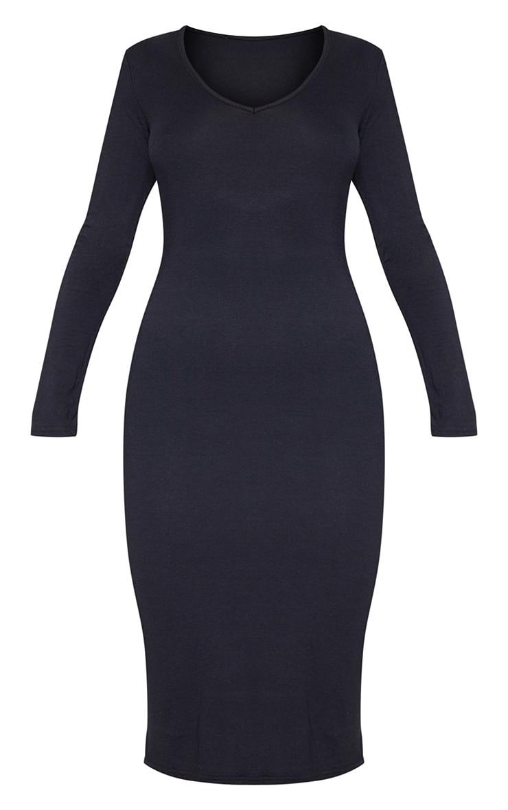 Black Jersey V Neck Long Sleeve Midi Dress 4