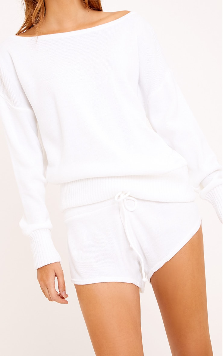 White Short and Jumper Knitted Lounge Set 5