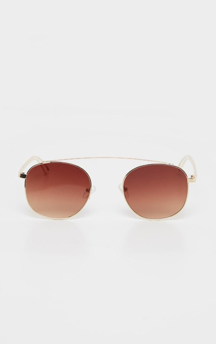 Gold Metal Brow Bar Aviator Sunglasses 2