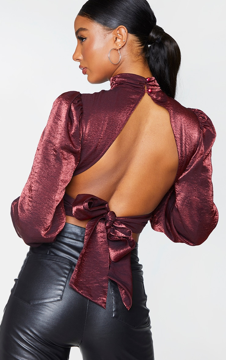 Burgundy Metallic Woven Tie Back Blouse 2
