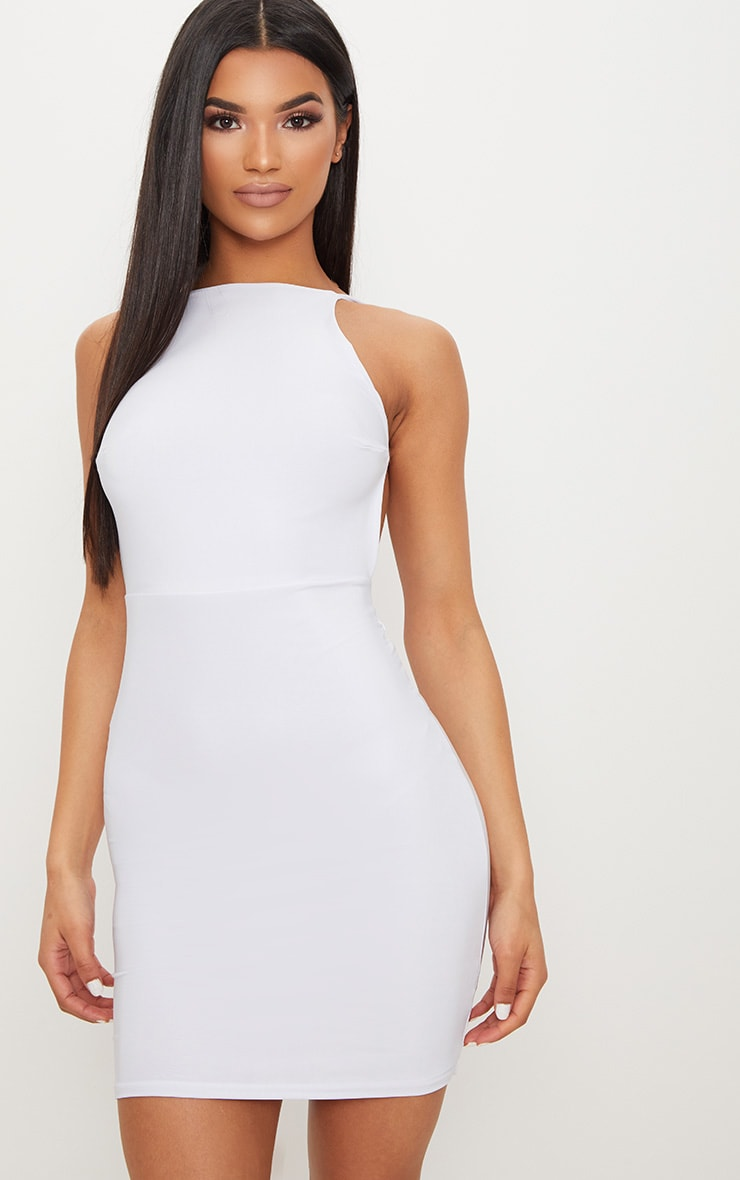 White Double Layer Slinky Halterneck Twist Low Back Detail Bodycon Dress Pretty Little Thing ar1bA