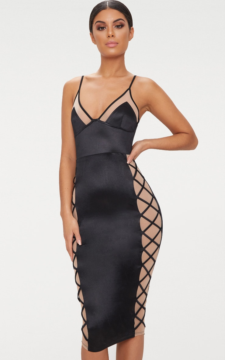 Black Satin Lace Up Midi Dress 1