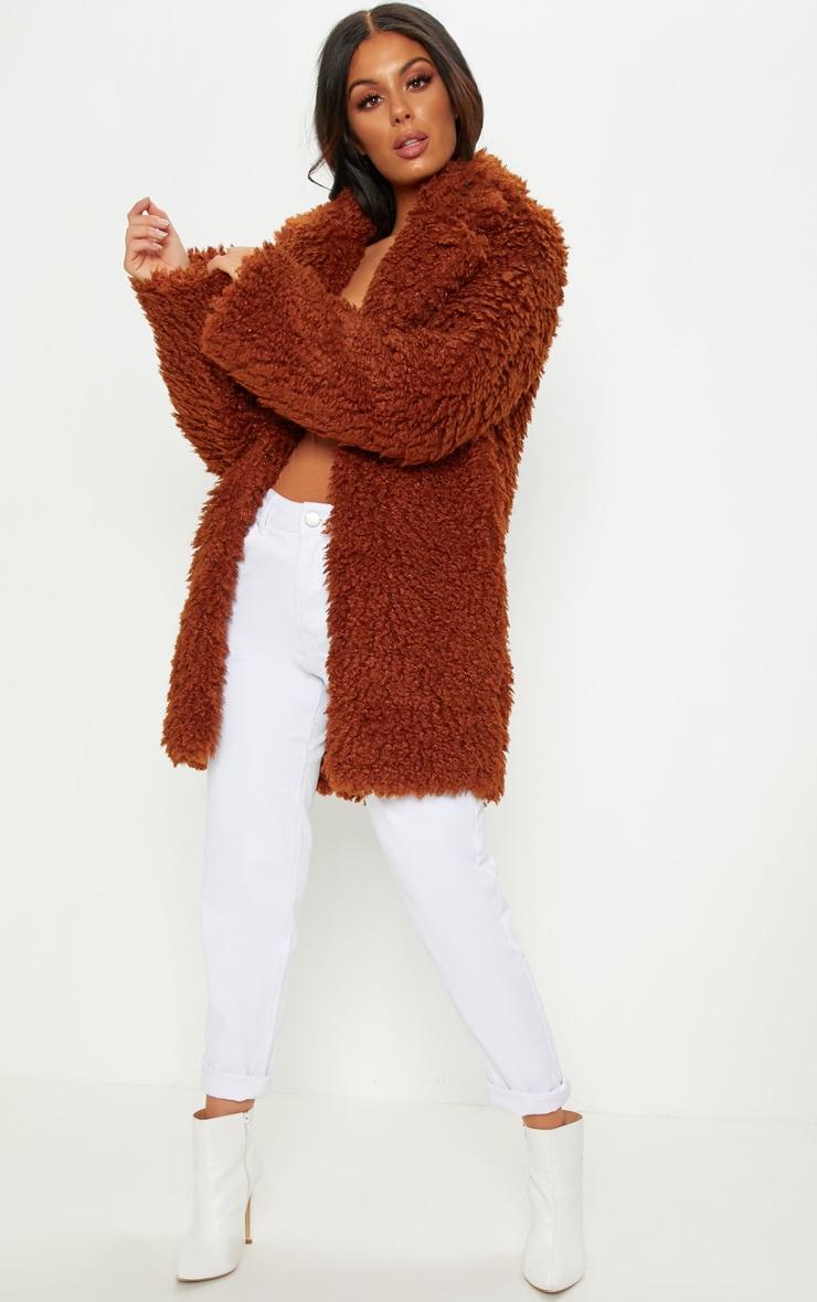 Brown Teddy Faux Fur Coat 4