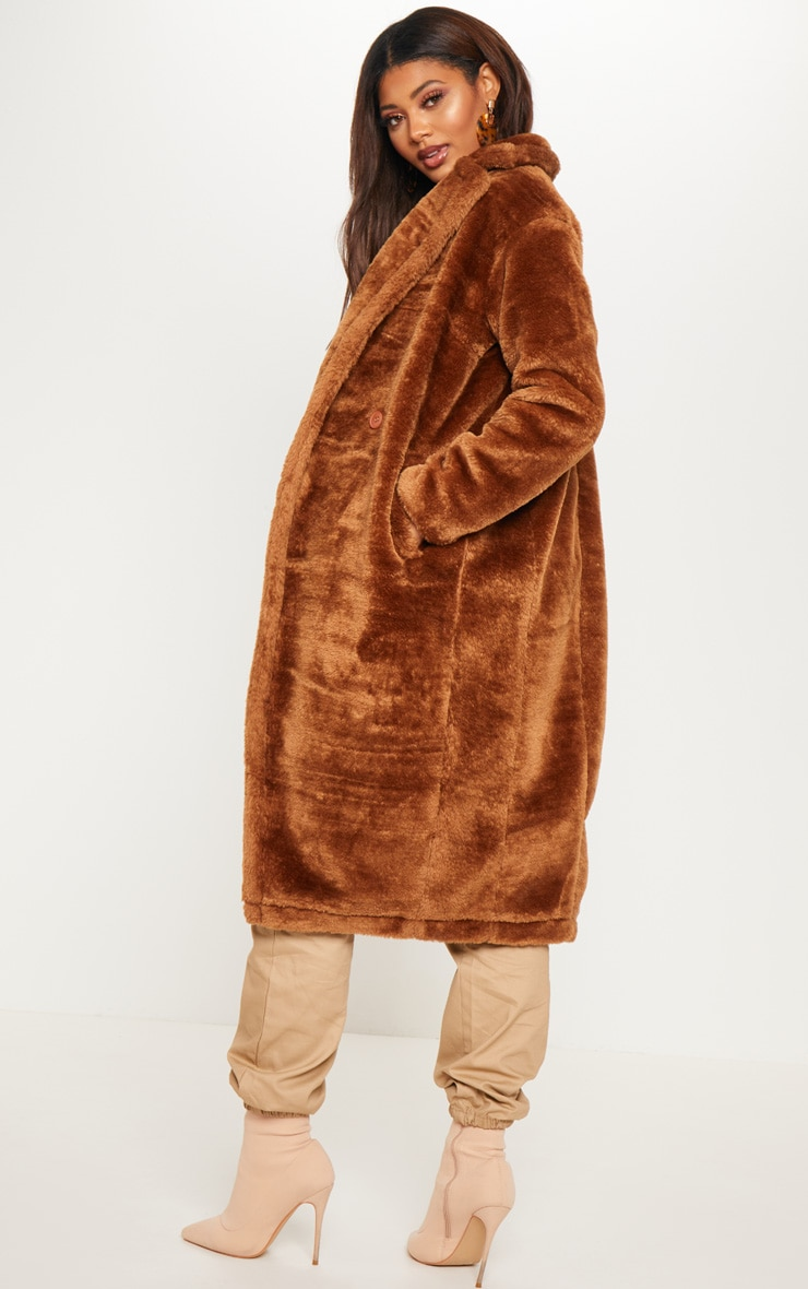 Tall Brown Faux Fur Long Line Coat 2