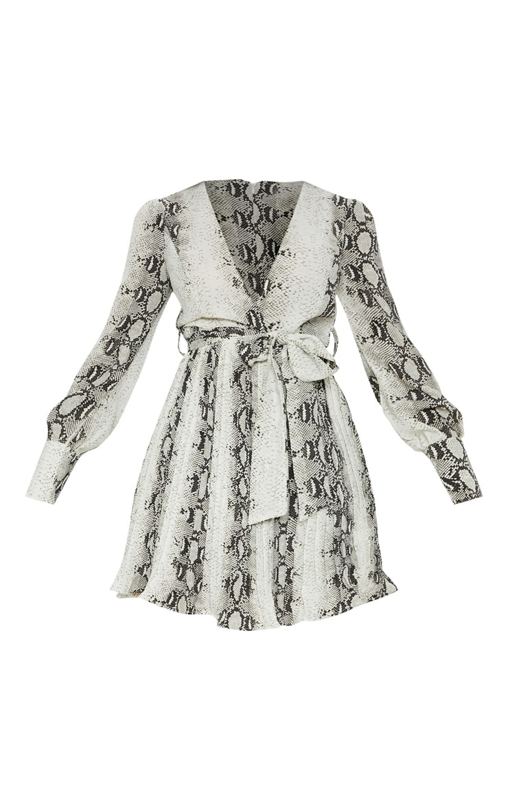 Grey Snake Print Wrap Pleated Skater Dress 3