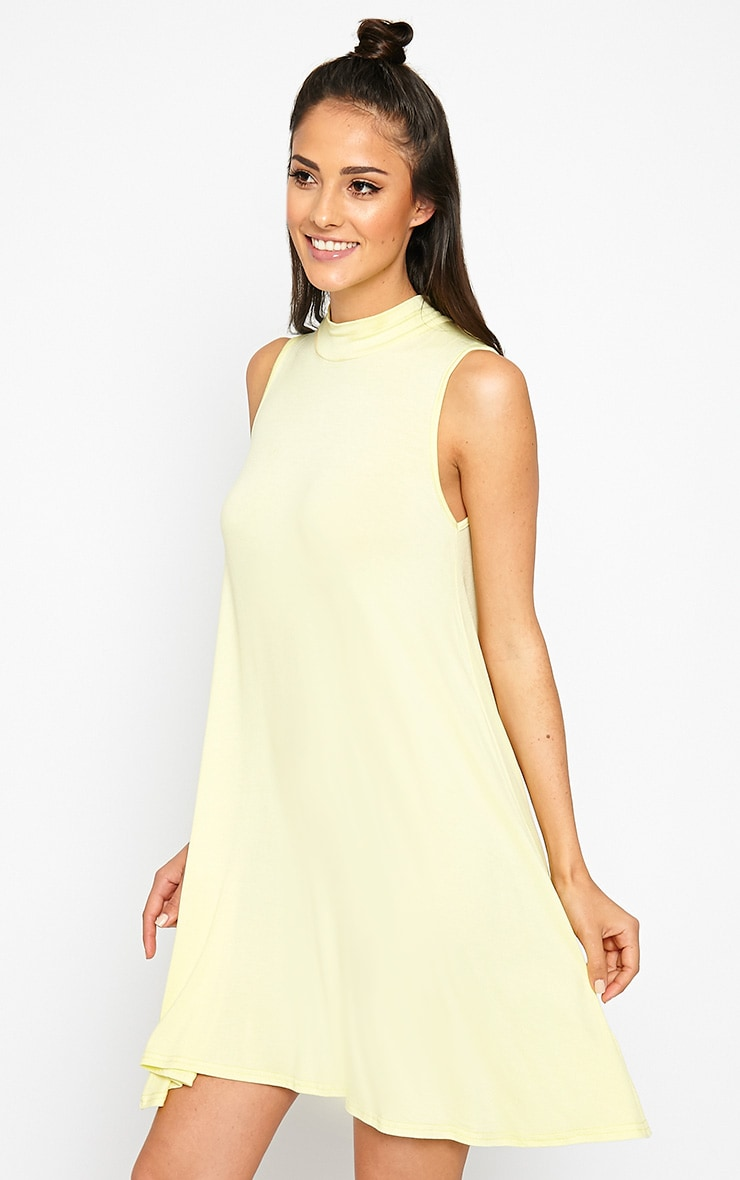Aishha Lemon High Neck Jersey Swing Dress 4