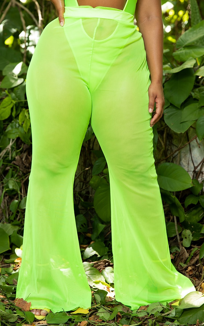 Plus Neon Lime Mesh Flare Trouser 2