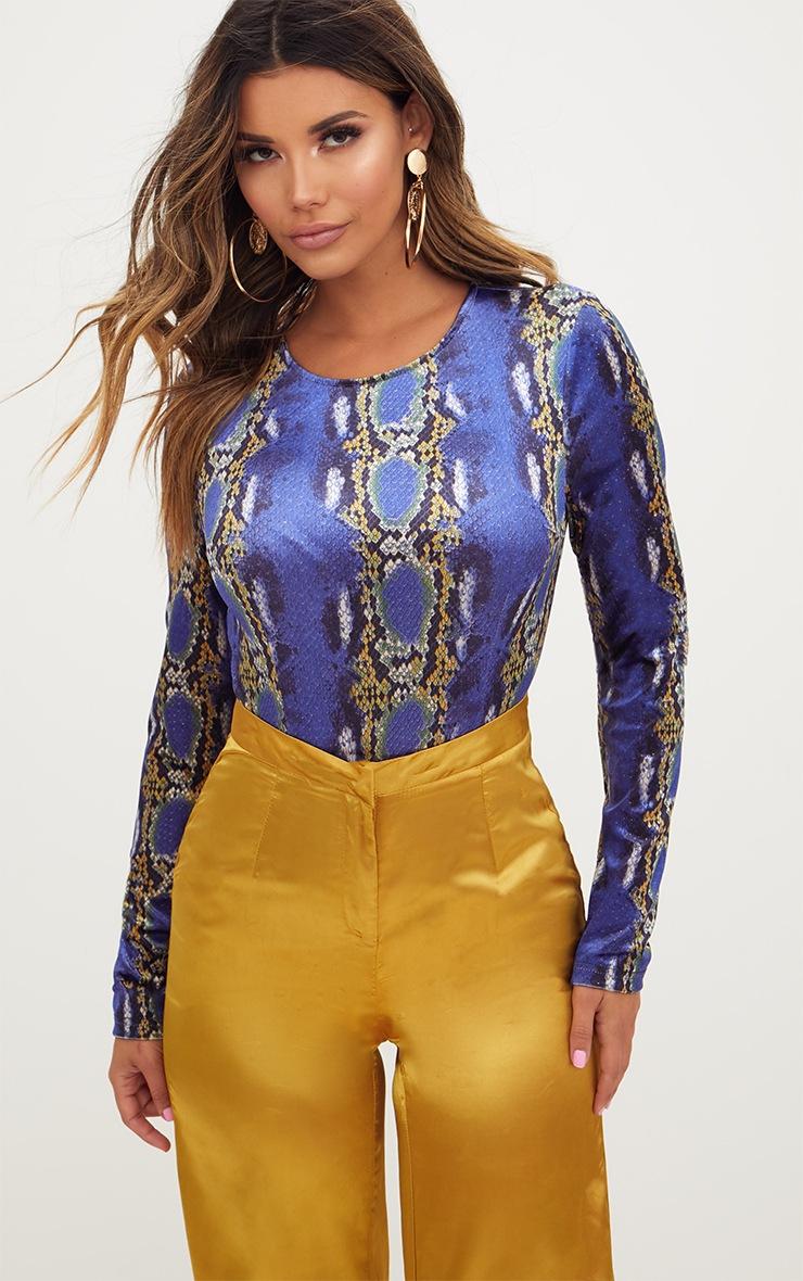 Blue Velvet Snake Print Longsleeve Thong Bodysuit 1