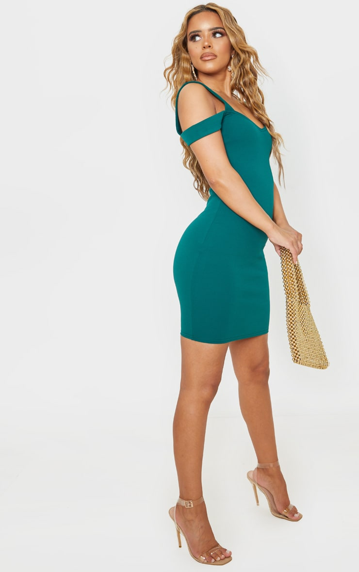 Petite Emerald Green Strappy Bardot Midi Dress 4
