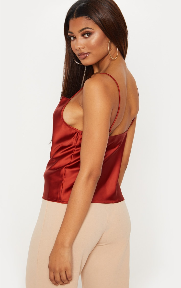 Tall Tobacco Satin Cowl Neck Cami Top 2