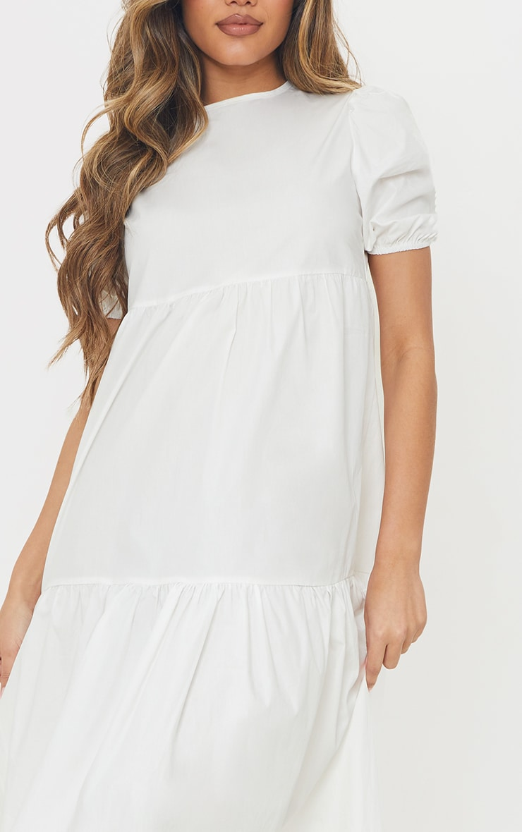 White Cotton Tiered Drop Hem Short Sleeve Midi Smock Dress 4
